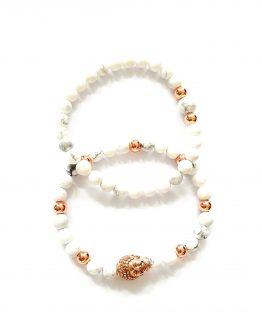 Ensemble de bracelet pierres semi-précieuses howlite acier inoxydable